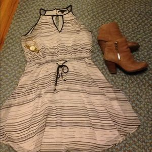 Black and White dress with tie waist